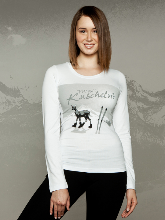 """Chalet Longsleeve mit Bambi-Print: """"mogs`t kuscheln"""""""