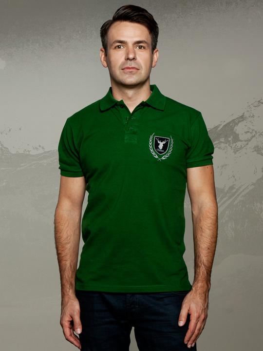 Chalet Poloshirt gruen. Sportlich elegantes Piqué-Poloshirt mit Applikation