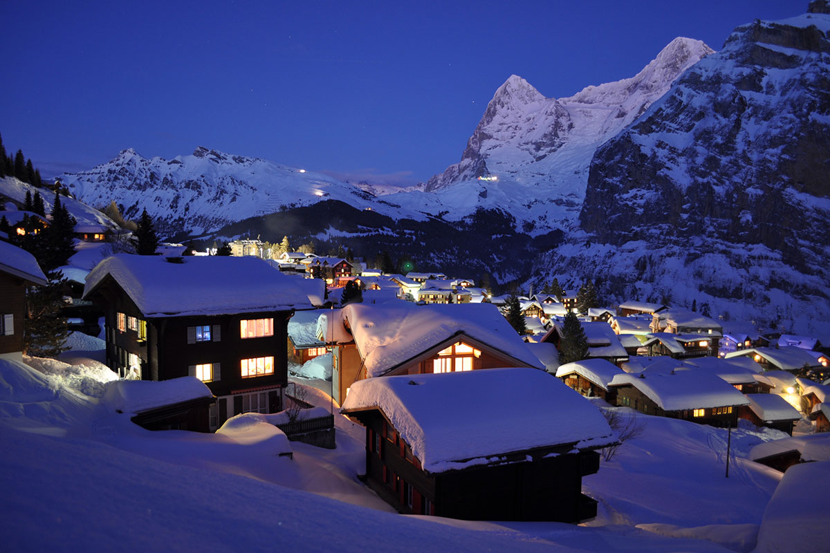 Mürren mit Inferno-Piste im Bern-Berner Oberland