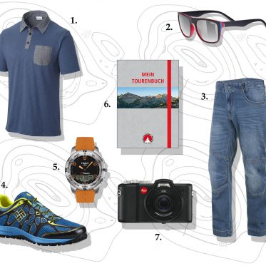 Mode und Accessoires zum Wandern: 1. Columbia – Lookout Point Novelty Polo. 2. uvex – lgl 26. 3. SALEWA – El Capitan 2.0 Pant. 4. Columbia – Conspiracy Titanium OutDry. 5. Tissot – T-TOUCH Expert Solar. 6. Bergverlag Rother – Mein Tourenbuch. 7. Leica – X-U (Typ 113).