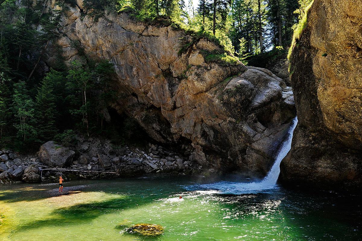 Die fünf schönsten Gumpen der Alpen zum Abtauchen. Buchenegger Wasserfälle Oberstaufenl Gumpen Alps