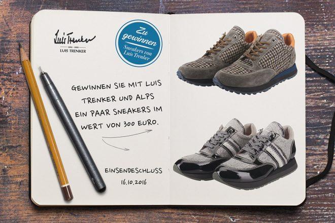 Gewinnen Sie mit Luis Trenker und ALPS ein Paar Sneakers im Wert von 300 Euro.. Das Südtiroler Lifestylelabel Luis Trenker bringt erstmalig Damen- und Herrensneakers in jeweils sechs verschiedenen Varianten (ca. 300 Euro) für das urbane Umfeld auf den Markt.