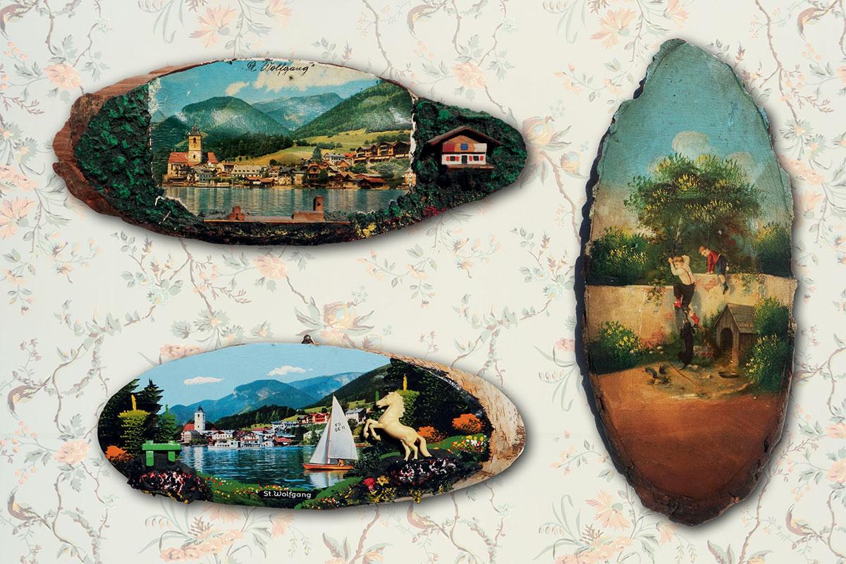Kulturgeschichtlich zwischen Hochrelief und Postkarte angesiedelt, sind handbemalte Baumtafeln als Einzelstücke vielleicht Kitsch. Als Gruppe aber fast schon Kunst
