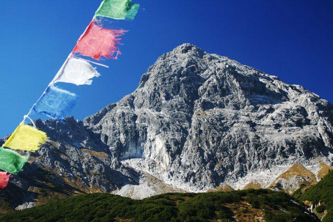 Klettersteig-Tourentipp Saula. Blick von der Heinrich-Hueter-Hütte zum Saulakopf