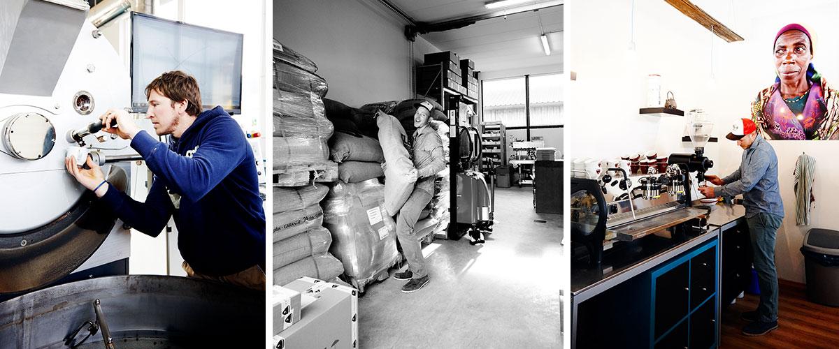 Wildkaffee – Der Bergröster. Reine Geschmackssache: Ob der grüne Rohstoff aus den entlegensten Winkeln der Welt zu erstklassigem Kaffee wird, hängt von der Röstung ab. Hardi Wild und Kollege Josef Staltmayr lieben ihn hell und pur. In der Rösterei lagern 15 verschiedene Sorten in 60-Kilo-Säcken