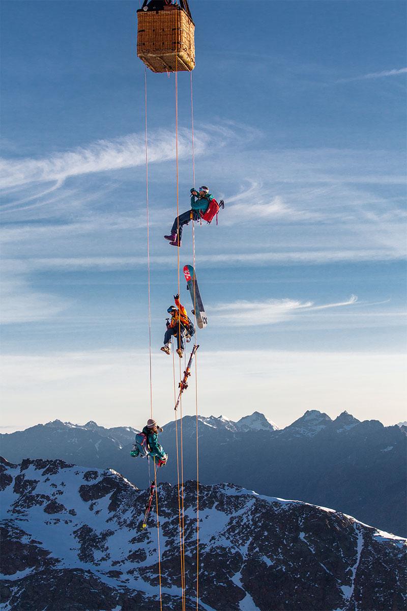 """Balloonskiing Heimschnee. """"Der Ausstieg ist das Gefährlichste."""", Andreas Gumpenberger, Freerider"""