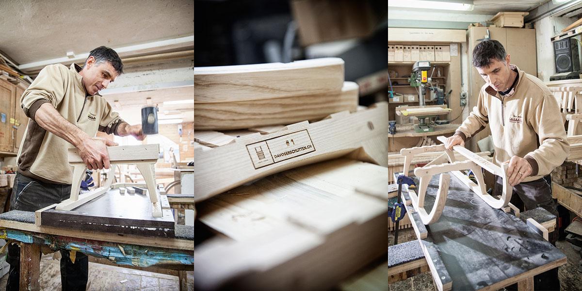Davoser Schlitten – Auf zu neuen Kufen. Handwerkskunst: Jeder Schlitten wird in Handarbeit gefertigt. Bis zu sieben Stunden dauert der Prozess