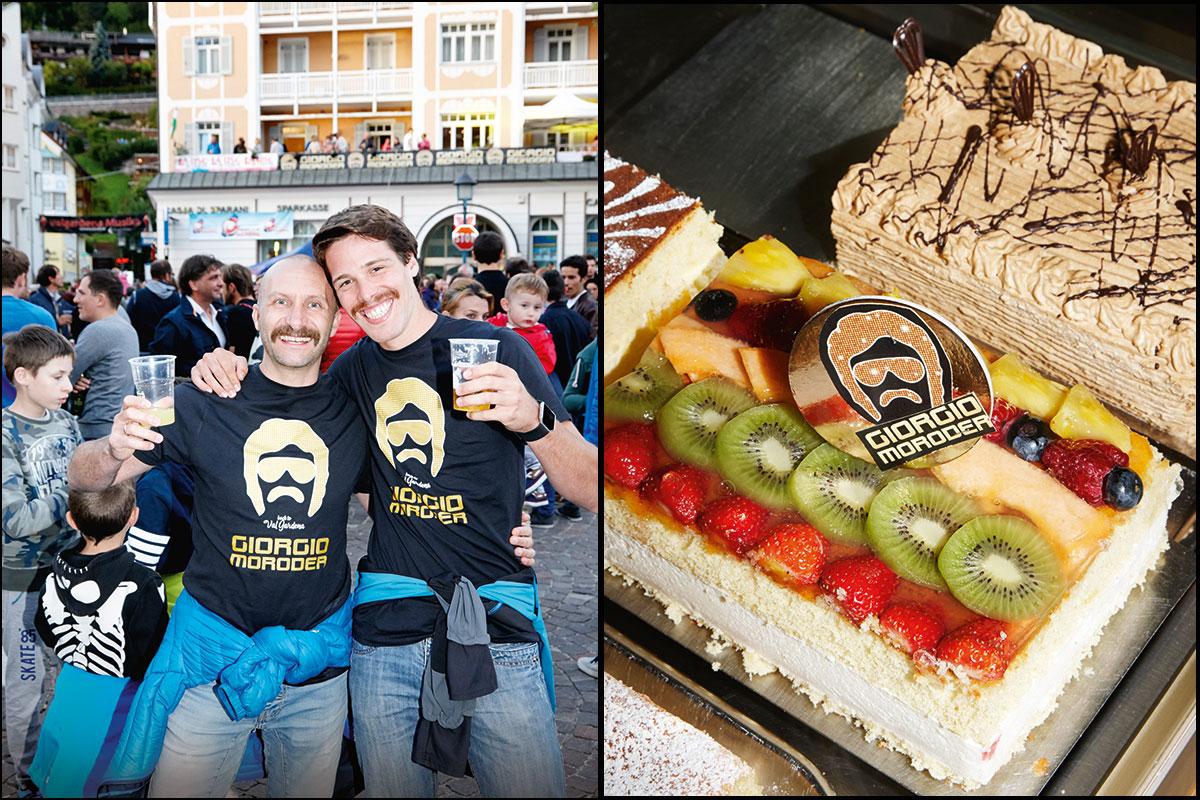 Giorgio Moroder. Das bekommt kaum einer gebacken: Der Konditor in St. Ulrich ziert seine Cremeschnitte mit dem Heimkehrer. Es gibt Fans in Südtirol, die lassen sich vor lauter Verehrung sogar den Moroder-Schnauzer stehen. Passt gut zum Freudestrahlen
