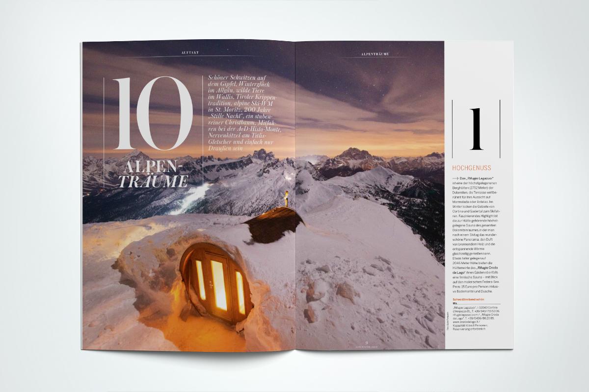 ALPS #32. Winter 2016/20017. Der Auftakt in ALPS Sauna auf 2046 Meter, Ski-WM in St.Moritz, die Renaissance der Krippen, Hängepartie überm Titlis-Gletscher
