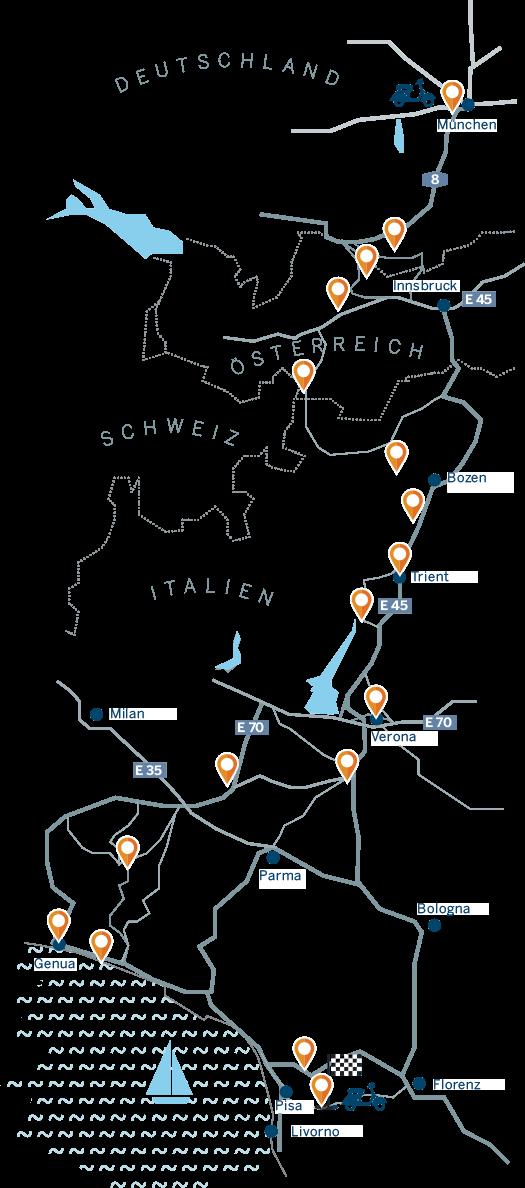 Von München aus über Meran, Verona und Genua nach Pontedera in der nördlichen Toskana – dorthin, wo vor 70 Jahren alles begann