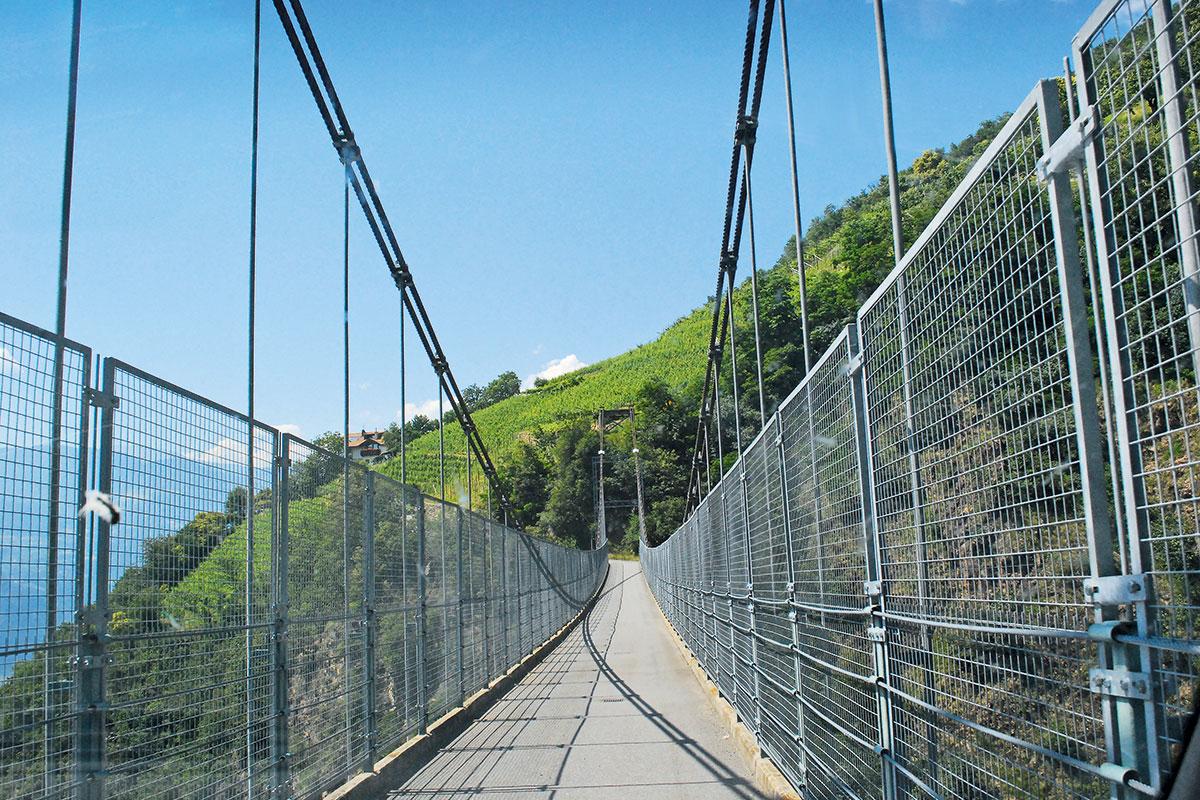Cantina Terlan – Genossen, schafft. EXTREME STEILLAGEN: Mit einer Hängebrücke werden stundenlange Umwege für die Weinbauern vermieden. Hier reift ein Teil der Terlan-Reben