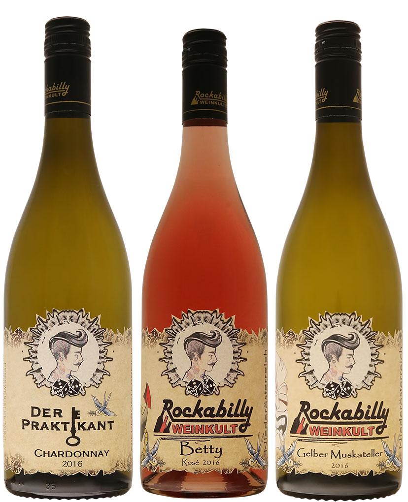 Rockabilly Weinkult – Rock & Reben. Der Wein rockt: die Etiketten zeichnete ein befreundeter Tattoo-Künstler
