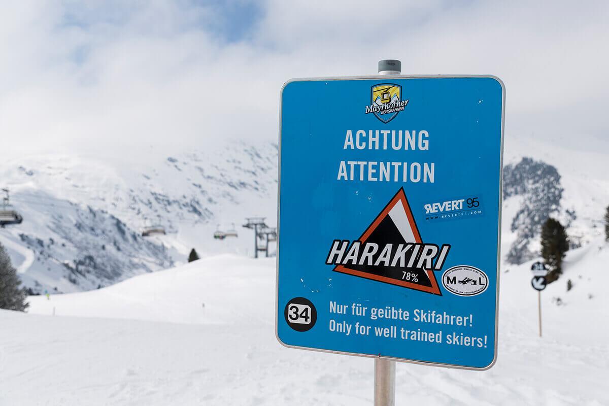 """Die fünf außergewöhnlichsten Pisten in Tirol. Mit 78 Prozent Gefälle ist die """"Harakiri"""" in Mayrhofen im Zillertal die steilste Piste in Tirol."""