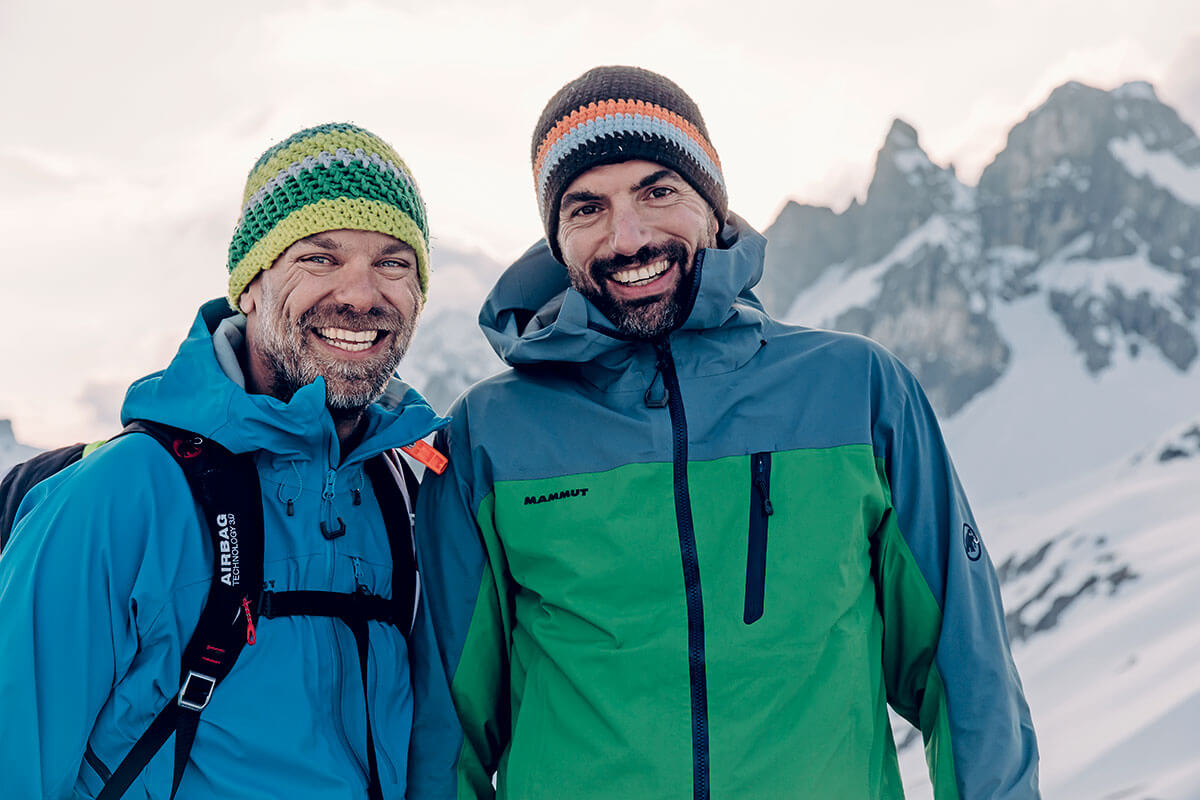 Aki Hallbauer (r.) und der Autor Christian Thiele. Allgäu / Hermann von Barth-Hütte / Skitour.