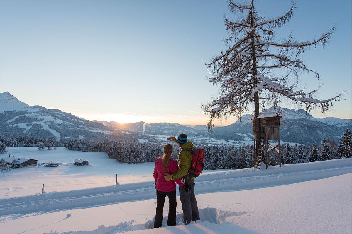 Winterliche Sonnenuntergangswanderung