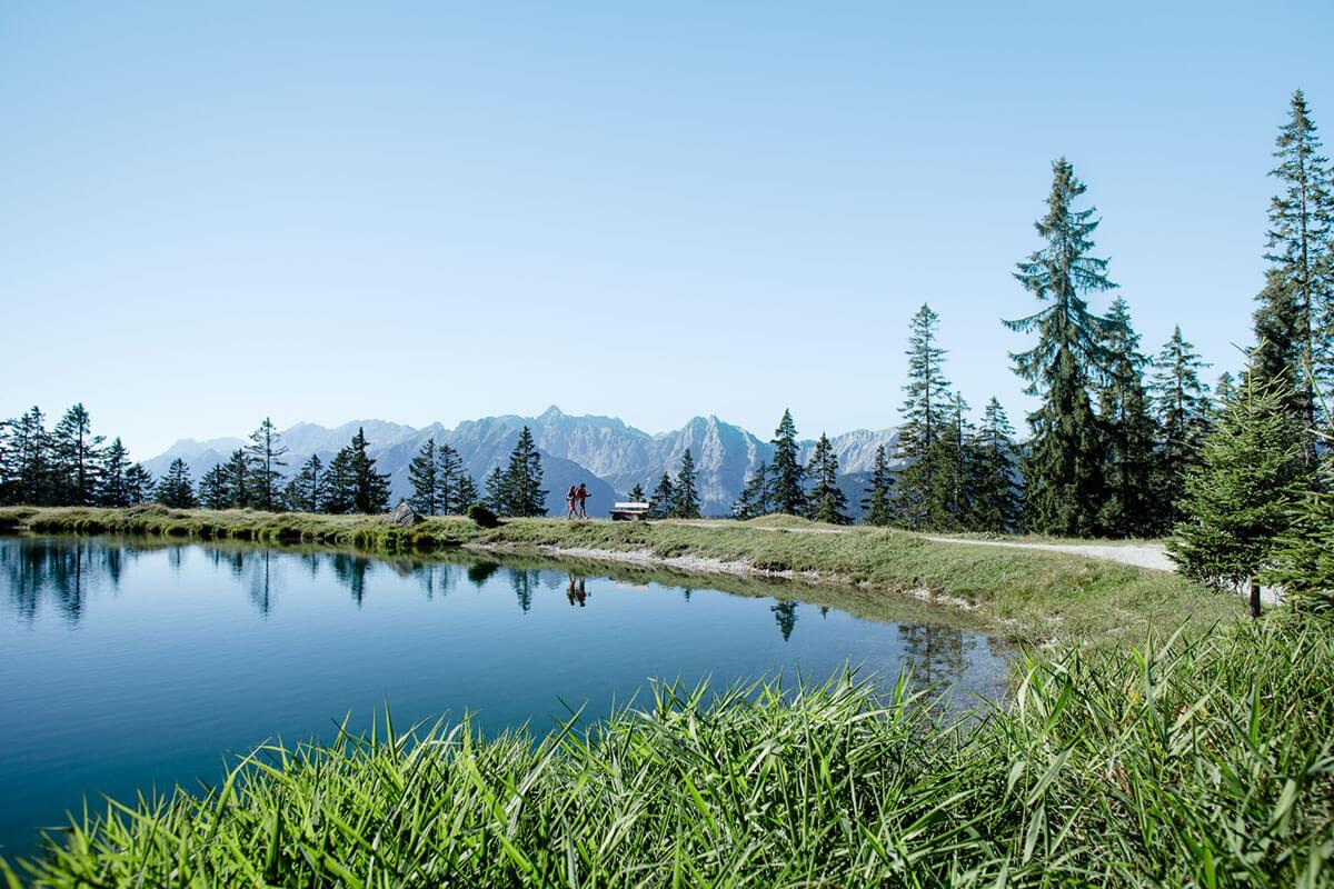 Wer oben am Kaltwassersee wandert, hat einen herrlichen Ausblick zur Hohen Munde und tief ins Gaistal bis hin zur Ehrwalder Alm