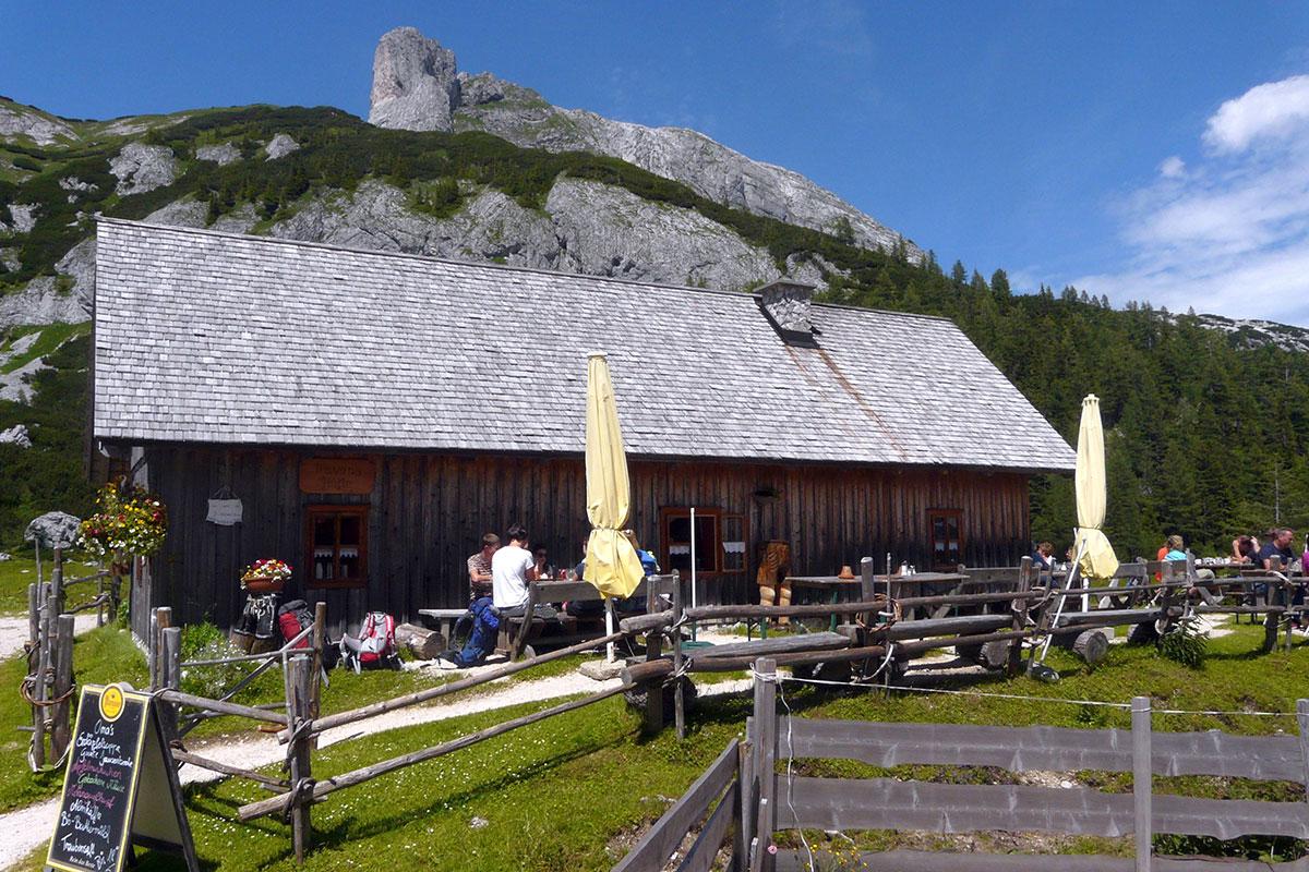 Mitten in einem Feld aus Alpenrosen liegt die Trawenghütte auf der Tauplitzalm.